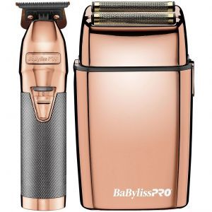 BaByliss Pro ROSEFX Collection - Metal Lithium Outliner & Metal Cordless Double Foil Shaver Combo #FXHOLPK2RG