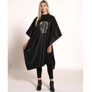 Betty Dain Sugar Skull Styling Cape #8002-BLK/SIL
