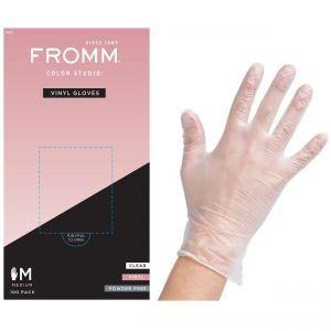 Fromm Color Studio Powder Free Vinyl Clear Gloves 100 Pcs - Medium #D8021