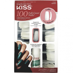 Kiss 100 Tips Long Length Full-Cover Nails Coffin #100PS24
