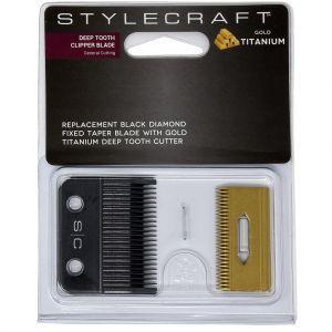 Stylecraft Replacement Black Diamond Fixed Taper Blade with Gold Titanium Cutter - Deep Tooth Clipper Blade #SCCBTSG