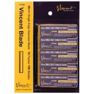 Vincent 58mm Single Edge Stainless Blades - 100 Blades (10 Blades X 10 Pack) #VT302B