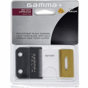 Gamma+ Replacement Black Diamond Fixed Taper Blade with Gold Titanium Cutter - Deep Tooth Clipper Blade #GPCRBTS