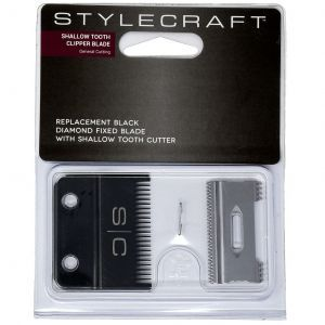 Stylecraft Replacement Black Diamond Fixed Blade with Cutter - Shallow Tooth Clipper Blade #SCCBSS