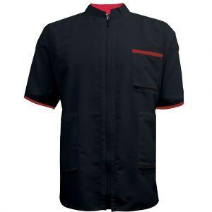 Vincent 2 Tone China Collar Barber Jacket Black - Large #VT2217L