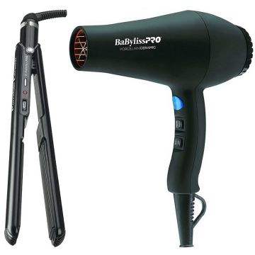 """BaByliss Pro Porcelain Ceramic Carrera2 Hair Dryer & Straightening Iron 1"""" -  Special Value Pack #BPPP1"""
