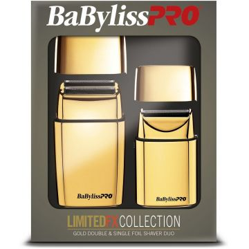 BaByliss Pro LIMITEDFX Collection - Limited Edition Gold / Black Double & Single Foil Shaver Combo #FXFSHOLPK2GB