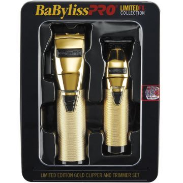 BaByliss Pro LIMITEDFX Collection - Limited Edition Gold / Black Clipper & Trimmer Combo #FXHOLPK2GB