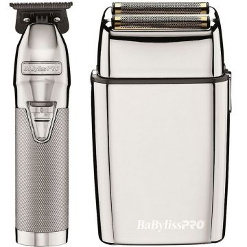 BaByliss Pro SILVERFX Collection - Silver Metal Lithium Outliner & Silver Metal Cordless Double Foil Shaver Combo #FXHOLPK2S