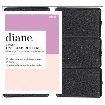 """Diane Foam Rollers Black 1 1/2"""" - 6 Pack #D1920B"""