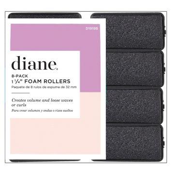 """Diane Foam Rollers Black 1 1/4"""" - 8 Pack #D1919B"""