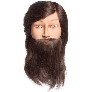 """Diane 100% Human Hair Mannequin Head - Brown Hair Dark Complexion - Bearded Aiden 16"""" - 18"""" Male #DMM010B"""