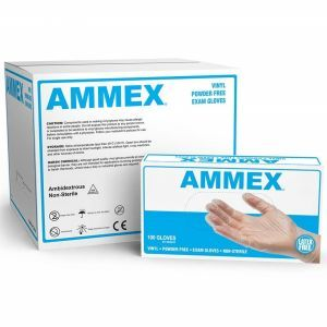 AMMEX Vinyl Powder Free Exam Gloves 100 Pcs - Medium #VPF64100 - 10 Pack