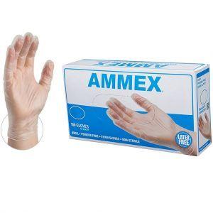 AMMEX Vinyl Powder Free Exam Gloves 100 Pcs - Large #VPF66100