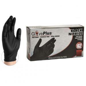 AMMEX GlovePlus Black Nitrile Gloves 100 Pcs - Medium #GPNB44100