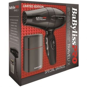 BaByliss Pro Limited Edition Travel FX - Gun Metal Grey Single-Foil Shaver & Bambino Dryer Combo #BNTPROFX