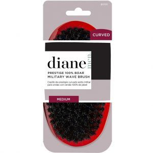 Diane Curved Prestige 100% Boar Military Wave Brush - Red / Medium #D1721