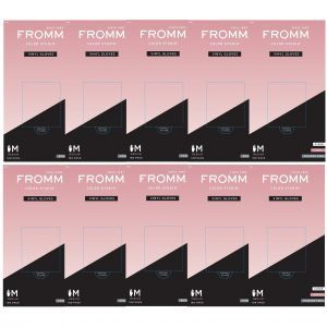 Fromm Color Studio Powder Free Vinyl Clear Gloves 100 Pcs - Medium #D8021 - 10 Pack