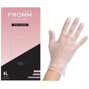 Fromm Color Studio Powder Free Vinyl Clear Gloves 100 Pcs - Large #D8022
