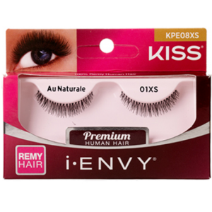 Kiss i-ENVY Premium Human Remy Hair Eyelashes 1 Pair Pack - Au Naturale 01XS #KPE08XS