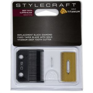 Stylecraft Alpha Clipper Blade with DLC Fixed blade and Staggered Gold Titanium Cutter #SCCBTSG